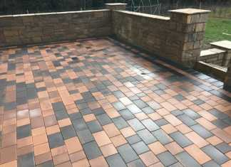 Raised Patio with Pillars and Steps in Wilmslow, Cheshire