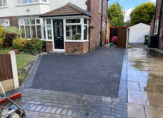Tarmac Driveway with Charcoal Brick Edging in Didsbury