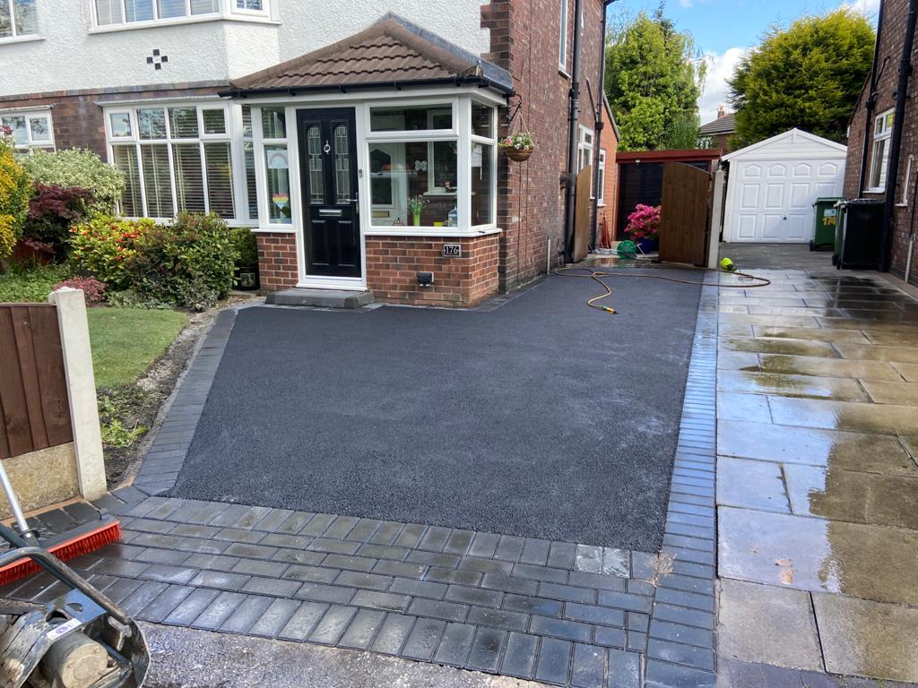 Tarmac Driveway with Charcoal Brick Edging in Didsbury