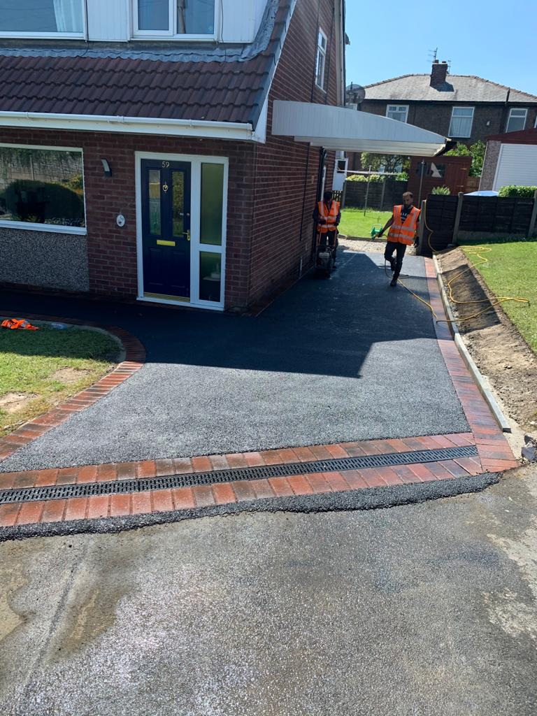 Tarmac Driveway with Block Paving Border in Oldham